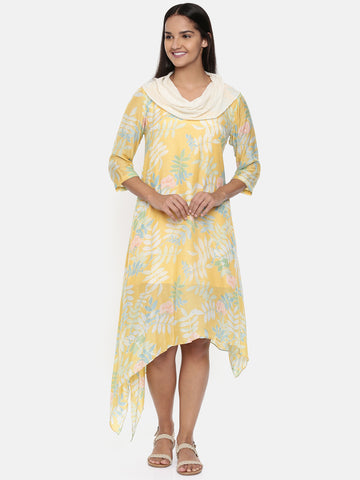 Yellow printed muslin cotton, cowl neck dress  - AS0330