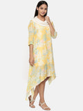 Yellow printed muslin cotton, cowl neck dress  - AS0330 - Asmi Shop