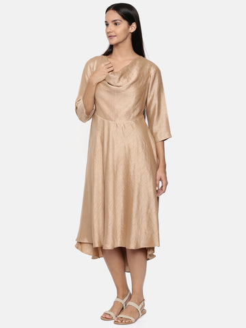 Brass gold, cotton silk high low cowl dress  - AS0332