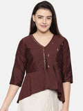 Chocolate brown cotton silk embroidered Dhoti top -  AS0334 - Asmi Shop