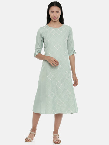 Green,Linen Satin panel cut dress - AS0343