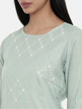 Green,Linen Satin panel cut dress - AS0343 - Asmi Shop