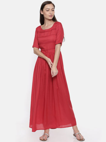 Red Cotton Pleated Dress - AS034