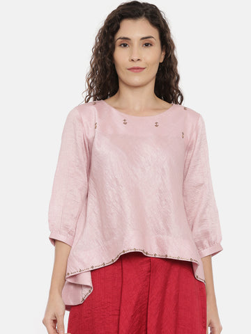Baby Pink Embroideried Crushed Silk Top   -  AS0367