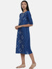 Sapphire Blue,Linen Satin panel cut dress - AS0375