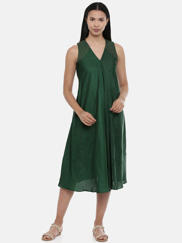 Bottle Green,silk slub razer back  dress - AS0377