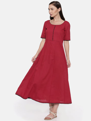 Red Cotton Dobby Dress - AS037
