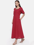 Red Cotton Dobby Dress - AS037 - Asmi Shop