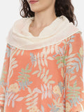 Orange Cotton Asymmetrical Cowl Dress  -  AS0380