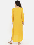 Yellow Malai Cotton Cowl Dress -  AS0405