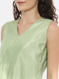 Green Linen Silk Slub Asymmetrical Dress  -  AS0412