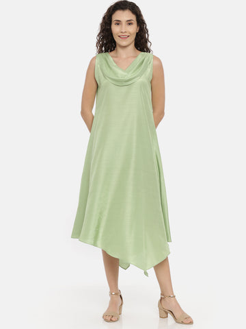 Green Cotton Silk Slub Cowl Dress -  AS0413
