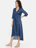 Blue Linen Satin Embroidered Wrap Dress -  AS0425