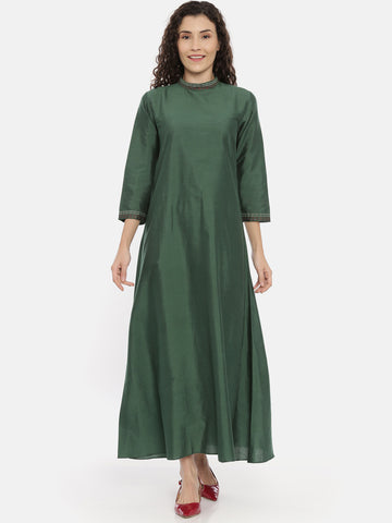 Green Cotton Silk Embroidered Dress -  AS0427