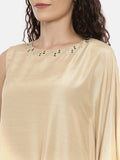 Beige Linen Satin Cowl Dress -  AS0429