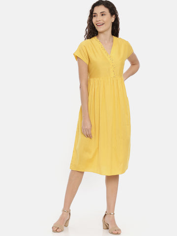 Yellow Cotton Silk Embroidered Dress -  AS0432
