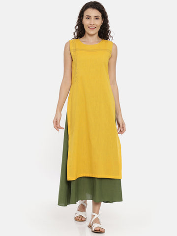 Yellow Green Cotton Embroidered Dress -  AS0434