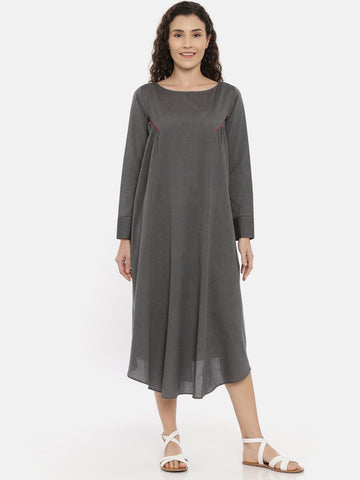 Grey  Cotton Grathered Dress - AS0436