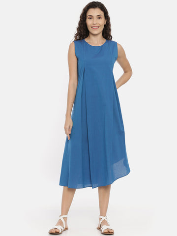 Blue Cotton Asymmetrical Dress - AS0438