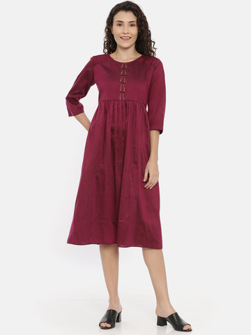 Purple Cotton Silk Embroidered Dress - AS0441