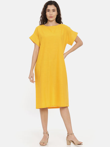 Yellow Cotton Embroidered Dress - AS0443