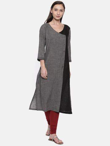 Double Wrap Linen Kurti - AS044