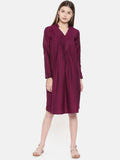 Pleated Wine Dress - AS096 - Asmi Shop