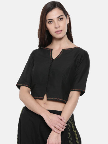 Black Embroidered Cotton Silk Blouse - ASBL002