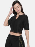 Black Embroidered Cotton Silk Blouse - ASBL002 - Asmi Shop