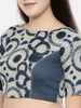Dark blue chanderi/naina satin embroidered blouse - ASBL005