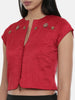Red,silk slub, long  blouse - ASBL014