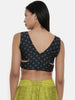 Dark green,Chanderi, sleeveless short blouse - ASBL016