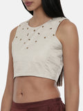 Silver Beige,Silk slub sleevless short blouse -ASBL018 - Asmi Shop