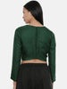 Bottle Green,Silk Slub, long blouse - ASBL022
