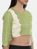 Leaf Green/Beige,Jaquard/Cotton silk Blouse - ASBL023