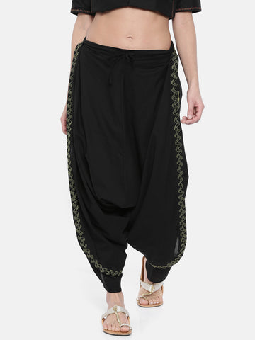 Black Embroidered Cotton Dhoti Pants - ASDP001