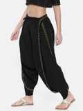 Black Embroidered Cotton Dhoti Pants - ASDP001 - Asmi Shop