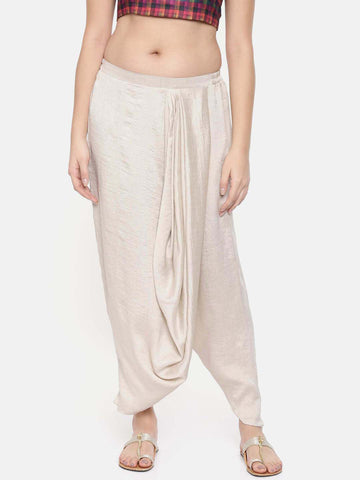 Off white Crushed silk Dhoti style pants - ASDP007