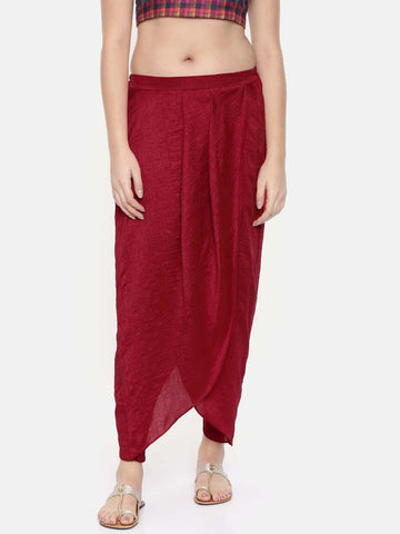 Red crushed silk pleated dhoti pants - ASDP010