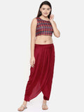 Red crushed silk pleated dhoti pants - ASDP010 - Asmi Shop