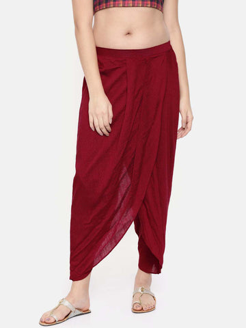 Red slub silk dhoti style pants - ASDP011