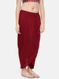 Red slub silk dhoti style pants - ASDP011 - Asmi Shop