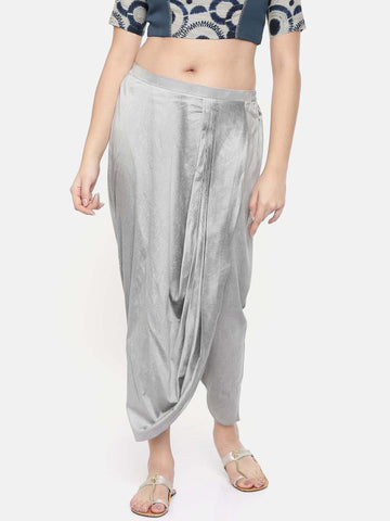 Silver grey cotton silk dhoti pants - ASDP016
