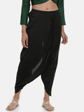 Black, Cotton silk, Dhoti pant - ASDP019 - Asmi Shop