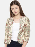 Chanderi Digital Beige Printed Jacket - ASJ005 - Asmi Shop