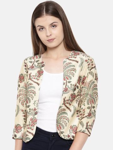 Chanderi Digital Beige Printed Jacket - ASJ005