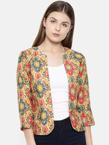 Red Mustard Printed Jacket - ASJ011
