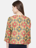 Red Mustard Printed Jacket - ASJ011 - Asmi Shop