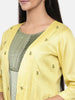 Yellow,R T Fiona long jacket with motif embroidery  -ASJ027