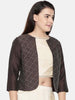 Chocolate Brown, linen silk short jacket with hand running stitch embroidery  - ASJ032